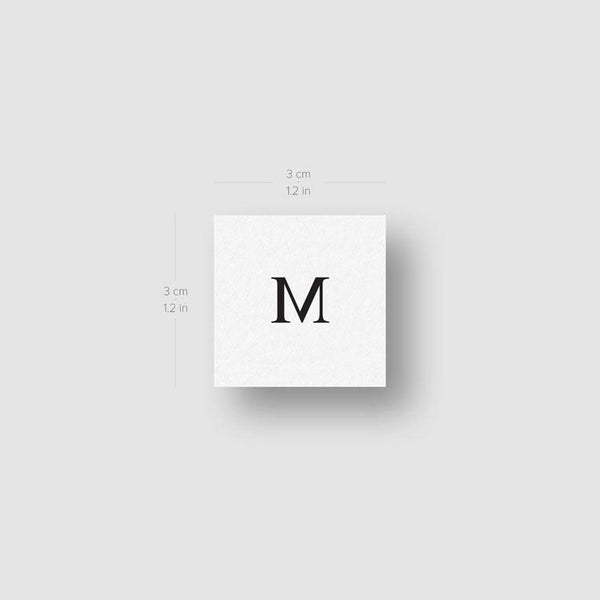M Uppercase Serif Letter Temporary Tattoo - Set of 3