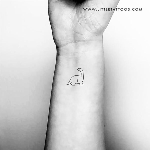 Minimalist Diplodocus Dinosaur Temporary Tattoo - Set of 3
