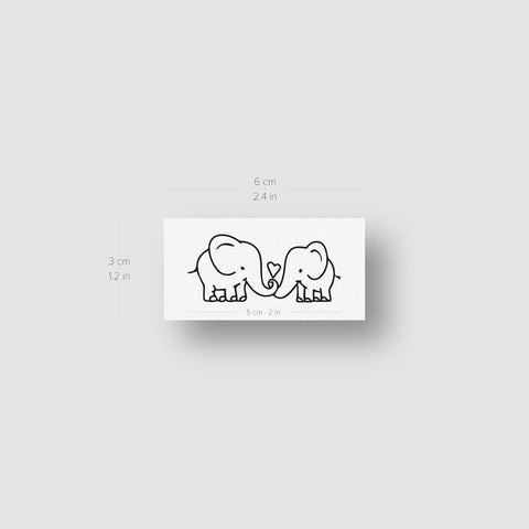 Elephants In Love Temporary Tattoo - Set of 3