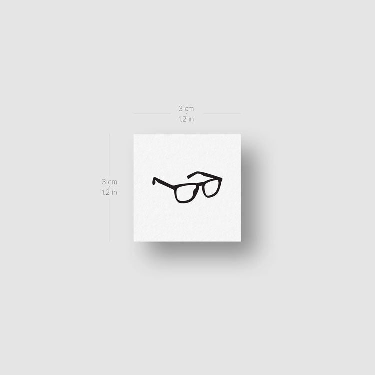 Eyeglasses Temporary Tattoo - Set of 3