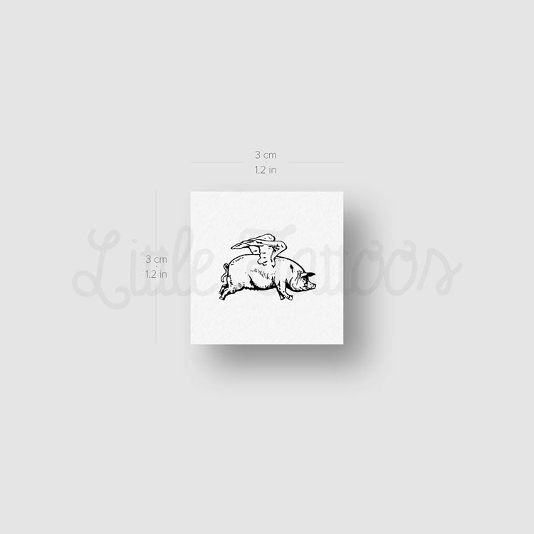 Flying Pig Temporary Tattoo - Set of 3