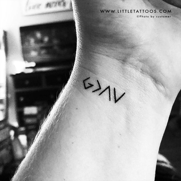 Little God is Greater Than My Highs and Lows Symbol Temporary Tattoo - Set of 3