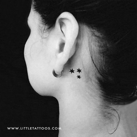 Three Stars Temporary Tattoo - Set of 3