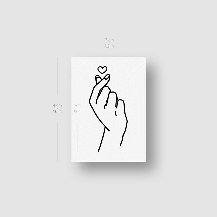 Korean ILY Hand Gesture Temporary Tattoo - Set of 3
