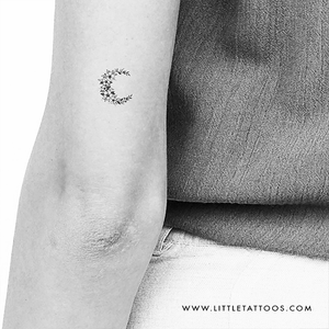 Little Floral Crescent Moon Temporary Tattoo - Set of 3