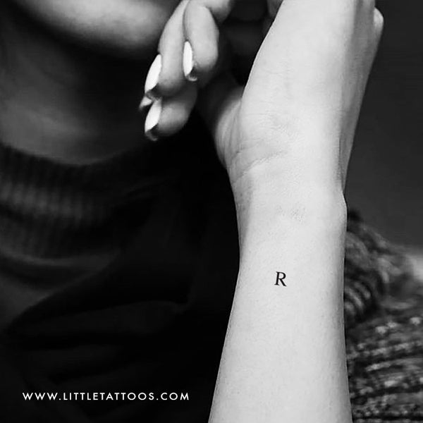 R Uppercase Serif Letter Temporary Tattoo - Set of 3