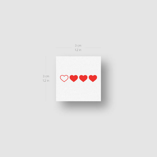 Red Loading Hearts Temporary Tattoo - Set of 3