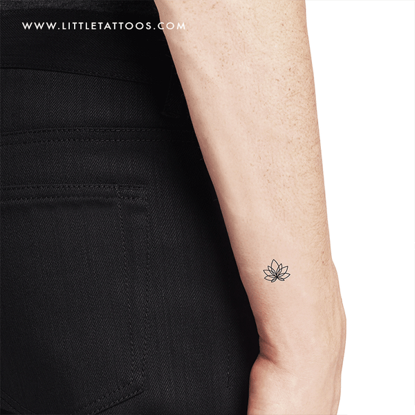 Little Fine Line Lotus Flower Temporary Tattoo - Set of 3