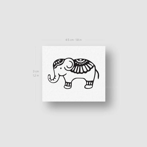 Ornamental Elephant Temporary Tattoo (Set of 3)