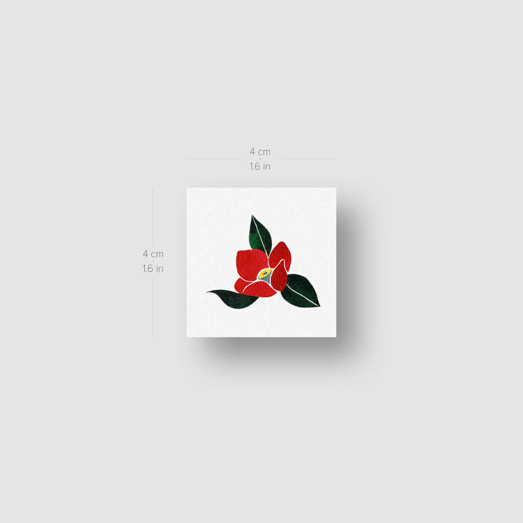 Red Camellia Temporary Tattoo by Zihee - Set of 3