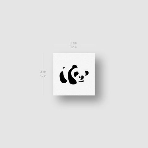 Panda Bear Temporary Tattoo - Set of 3