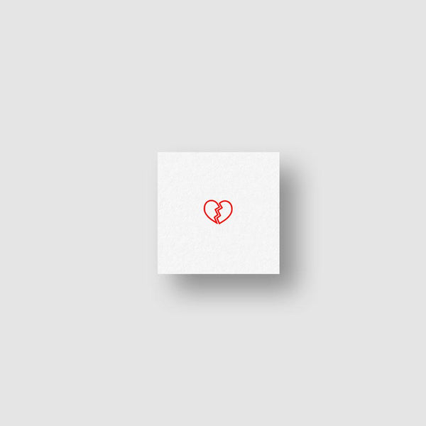 Small Red Broken Heart Temporary Tattoo - Set of 3