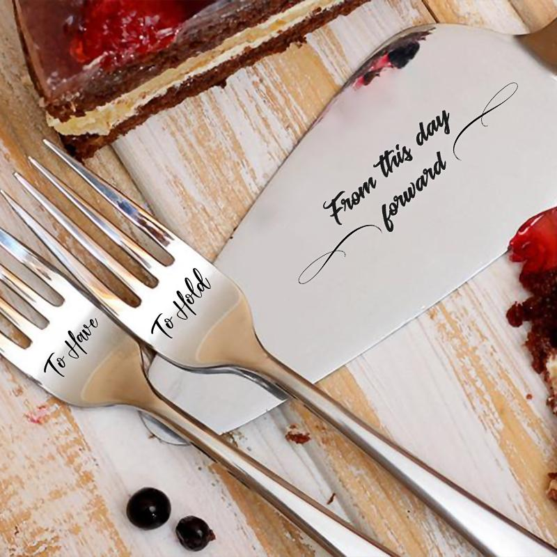 Sweet Cake Server and Forks Set