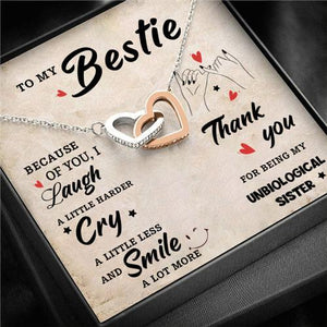 To My Bestie - Smile A Lot More - Interlocking Heart Necklace