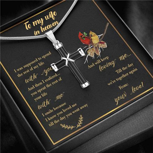 To My Wife In Heaven - Cross Urn Ashes Memorial Necklace