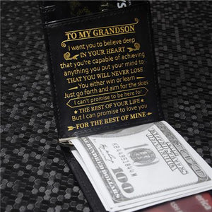 To My Grandson - Never Lose - Money Clip Slim Wallet