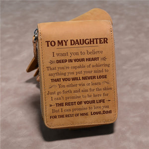 Dad To Daughter - You Will Never Lose - Card Holder Zipper Wallet