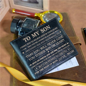 Mom To Son - Never Lose - Black Genuine Leather Wallet
