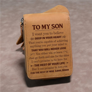 Mom To Son - You Will Never Lose - Card Holder Zipper Wallet