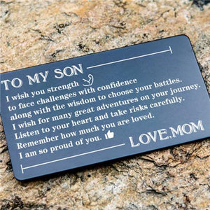Mom To Son - Listen To Your Heart - Engraved Wallet Card