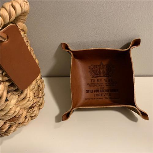 To My Wife - You Are My Queen Forever - Leather Valet Tray