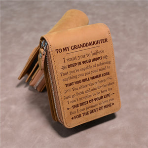 To My Granddaughter - You Will Never Lose - Card Holder Zipper Wallet