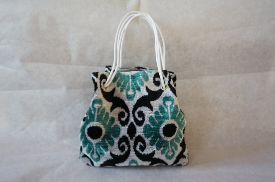 Velvet ikat Kinchaku Tote-bag ( light blue) 56