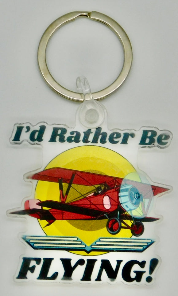 I'd Rather Be Flying - Biplane - Acrylic Keychain