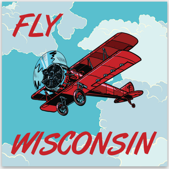 Fly Wisconsin - Biplane - Vinyl Sticker