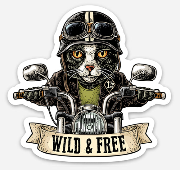 Wild & Free - Motorcycle Cat - Magnet