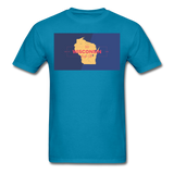 Wisconsin Info Map - Men's T-Shirt - turquoise