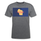 Wisconsin Info Map - Men's T-Shirt - mineral charcoal gray