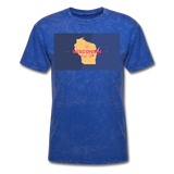 Wisconsin Info Map - Men's T-Shirt - mineral royal