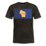 Wisconsin Info Map - Men's T-Shirt - mineral black