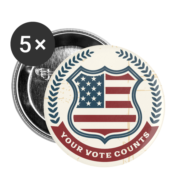 Vintage Your Vote Counts - Buttons large 2.2'' (5-pack) - white