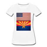 US & Arizona Grunge Flags - Women's Premium T-Shirt - white