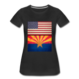 US & Arizona Grunge Flags - Women's Premium T-Shirt - black