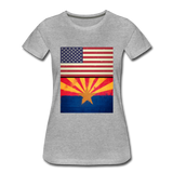 US & Arizona Grunge Flags - Women's Premium T-Shirt - heather gray