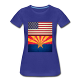 US & Arizona Grunge Flags - Women's Premium T-Shirt - royal blue