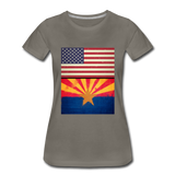 US & Arizona Grunge Flags - Women's Premium T-Shirt - asphalt gray