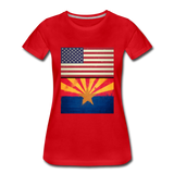 US & Arizona Grunge Flags - Women's Premium T-Shirt - red