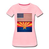 US & Arizona Grunge Flags - Women's Premium T-Shirt - pink