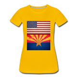 US & Arizona Grunge Flags - Women's Premium T-Shirt - sun yellow