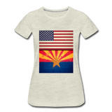 US & Arizona Grunge Flags - Women's Premium T-Shirt - heather oatmeal