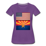US & Arizona Grunge Flags - Women's Premium T-Shirt - purple