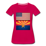 US & Arizona Grunge Flags - Women's Premium T-Shirt - dark pink
