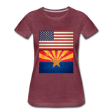 US & Arizona Grunge Flags - Women's Premium T-Shirt - heather burgundy