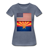 US & Arizona Grunge Flags - Women's Premium T-Shirt - heather blue