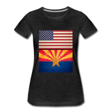 US & Arizona Grunge Flags - Women's Premium T-Shirt - charcoal gray