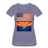 US & Arizona Grunge Flags - Women's Premium T-Shirt - washed violet